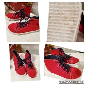 Girls size 2 red canvas high tops